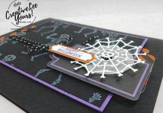 Wendy Lee, September 2019 Bone Appetit Paper Pumpkin Kit, stampin up, handmade cards, rubber stamps, stamping, kit, subscription, #creativeleeyours, creatively yours, creative-lee yours, birthday, celebration, graduation, anniversary, smile, thank you, grateful amazing, halloween, skeleton, alternate, bonus tutorial, fast & easy, DIY, #simplestamping, card kit, masculine, gift bags, treats, spider web
