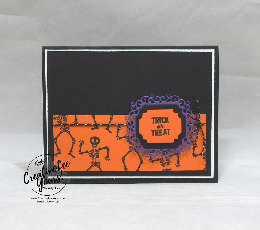 Trick-Or-Treat by Wendy Lee, September 2019 Bone Appetit Paper Pumpkin Kit, stampin up, handmade cards, rubber stamps, stamping, kit, subscription, #creativeleeyours, creatively yours, creative-lee yours, birthday, celebration, graduation, anniversary, smile, thank you, grateful amazing, Halloween, skeleton, alternate, bonus tutorial, fast & easy, DIY, #simplestamping, card kit, masculine, gift bags, treats, spider web