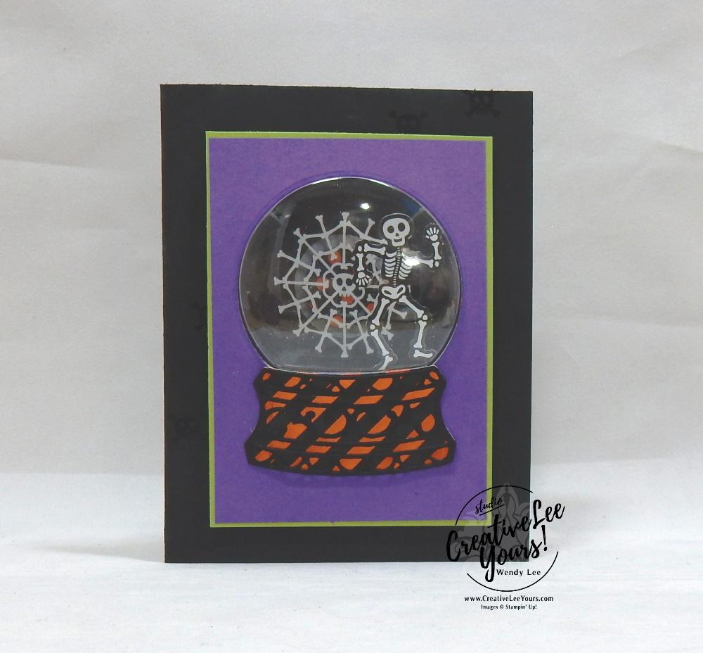 Snow Globe Skeleton, Wendy Lee, September 2019 Bone Appetit Paper Pumpkin Kit, stampin up, handmade cards, rubber stamps, stamping, kit, subscription, #creativeleeyours, creatively yours, creative-lee yours, birthday, celebration, graduation, anniversary, smile, thank you, grateful amazing, halloween, skeleton, alternate, bonus tutorial, fast & easy, DIY, #simplestamping, card kit, masculine, gift bags, treats, spider web, shaker card, snow globe