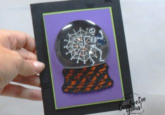 Snow Globe Skeleton, Wendy Lee, September 2019 Bone Appetit Paper Pumpkin Kit, stampin up, handmade cards, rubber stamps, stamping, kit, subscription, #creativeleeyours, creatively yours, creative-lee yours, birthday, celebration, graduation, anniversary, smile, thank you, grateful amazing, halloween, skeleton, alternate, bonus tutorial, fast & easy, DIY, #simplestamping, card kit, masculine, gift bags, treats, spider web, shaker card, snow globe