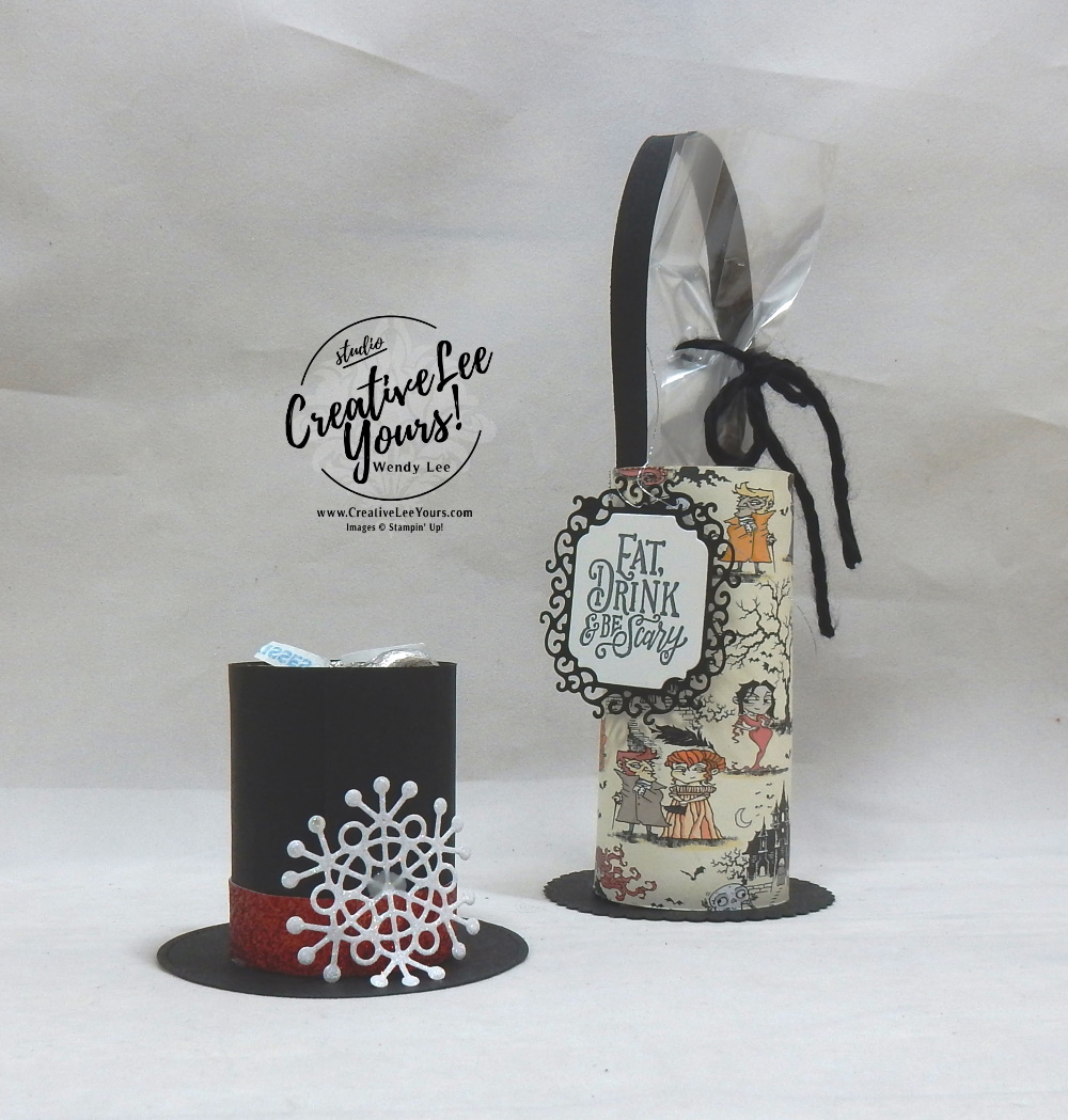 Holiday Centerpieces by Wendy Lee, stampin Up, SU, #creativeleeyours, hand made, Spooktacular bash stamp set, die-cut, ornate label dies, holiday, Christmas, friend, celebration, stamping, creatively yours, creative-lee yours, DIY, masculine, frosty, hat, snowflakes, monsters, treat holder, centerpiece, Halloween, toilet paper roll, patternpaper