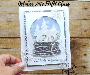 Celebrate The Season Snow Globe by Wendy Lee, Tutorial, card club, shaker card, stampin Up, SU, #creativeleeyours, hand made card, technique, itty bitty christmas stamp set, die-cut, frosted frames dies, snow globe scenes dies, holiday, Christmas, friend, celebration, stamping, creatively yours, creative-lee yours, DIY, FMN, forget me knot, October 2019, class, card club, feels like frost, masculine, shimmer