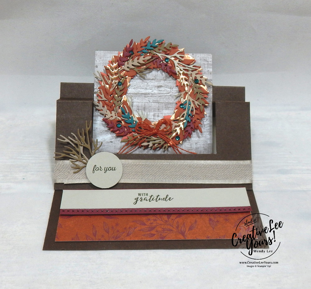 stampin up 2020 maui incentive trip, achiever, wendy lee, #creativeleeyours, creatively yours, creative-lee yours, demonstrator rewards, travel, hawaii, business opportunity, DIY, SU, rubber stamps, class, fun fold, swing easel, fall, wreath, gratitude, all-around wreath dies, Itty Bitty greetings stamp set, woodgrain, fall, thankful, thanksgiving, blessed