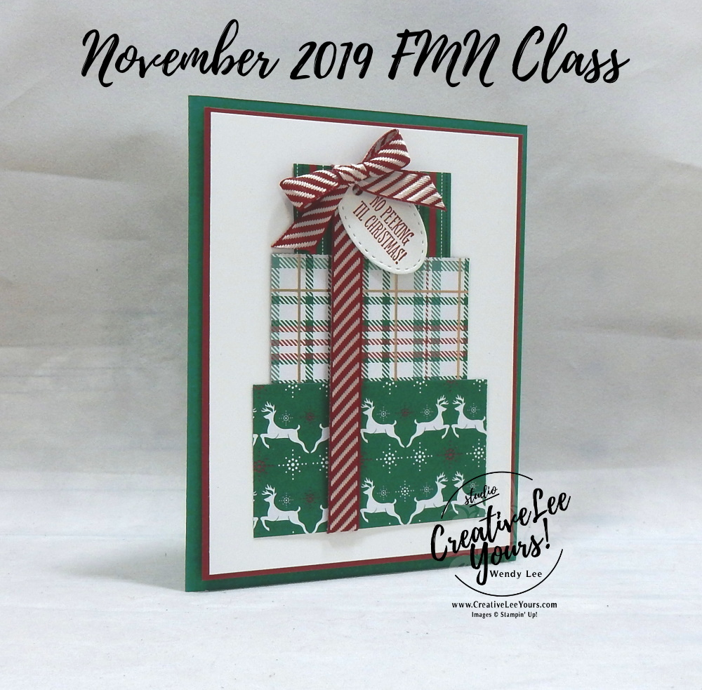 No Peeking by Wendy Lee, Tutorial, card club, stampin Up, SU, #creativeleeyours, hand made card, technique, itty bitty christmas stamp set, embossing, presents, Christmas, friend, birthday, hello, thanks, celebration, stamping, creatively yours, creative-lee yours, DIY, class, Diemonds team, business opportunity, perfectly plaid, curvy keepsakes dies