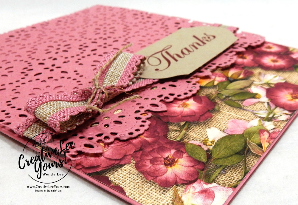 Stitched Lace Thanks by wendy lee, 2019 2020 annual catalog, 2019-2021 In Colors, club, Wendy Lee, stampin up, papercrafting, #creativeleeyours, creativelyyours, creative-lee yours, SU, pattern paper, accessories, stampin up, DSP, ink, new colors, tutorial, thank you, celebration, rococo rose, timeless label punch, good morning magnolia stamp set, friend, stitched lace dies, pressed petals