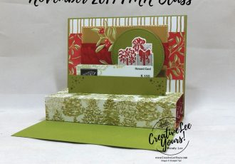 Pop-Up Gift Card Holder by Wendy Lee, Tutorial, card club, stampin Up, SU, #creativeleeyours, hand made card, technique, fun fold, most wonderful time product medley, most wonderful time stamp set, holiday, Christmas, friend, celebration, stamping, creatively yours, creative-lee yours, DIY, FMN, forget me knot, November 2019, class, card club, gold, tinsel, pattern paper, gift card, tree, deer, presents