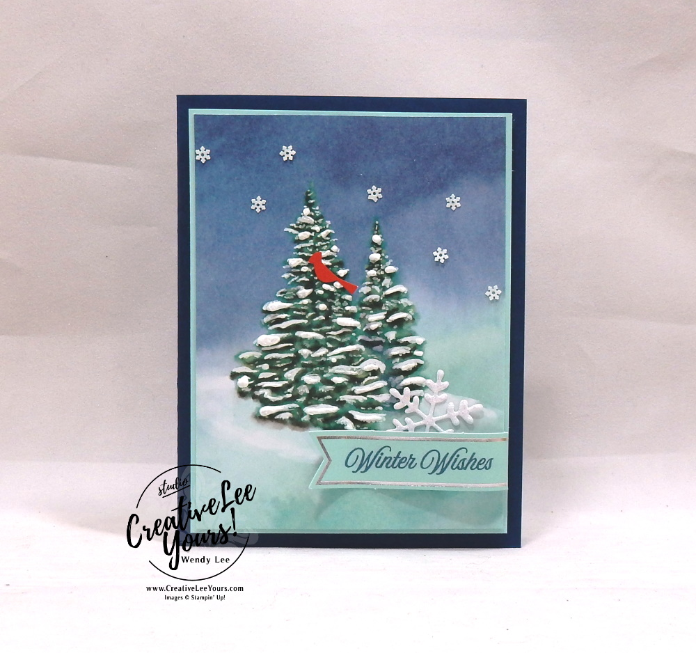 Winter Wishes by Wendy Lee, October 2019 Paper Pumpkin Kit, stampin up, handmade cards, rubber stamps, stamping, kit, subscription, #creativeleeyours, creatively yours, creative-lee yours, celebration, smile, thank you,  alternate, bonus tutorial, fast & easy, DIY, #simplestamping, card kit, tags, holiday, Christmas, #simplestamping, cardinal, trees, winter wishes, snowflakes
