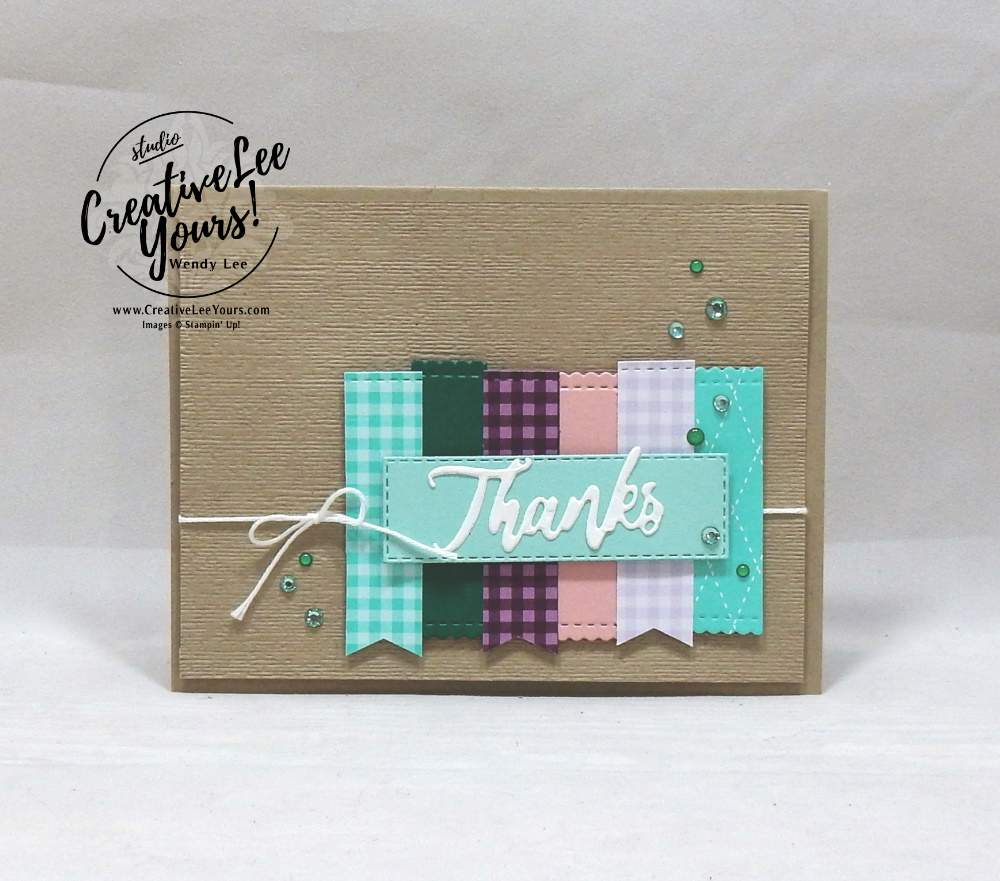 Stitched Thanks by Wendy Lee, stampin Up, SU, #creativeleeyours, hand made card, friend, birthday, hello, thanks, celebration, encouragement, dreams, stamping, creatively yours, creative-lee yours, A Wish For Everything stamp set, DIY, stitched rectangles, dies, gratitude, thanks, greatful,#patternpaper, paper scraps, stitched rectangle dies, stitched label dies, word wishes dies, International highlights, blog hop, kylie bertucci