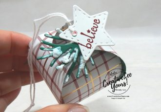 Believe by wendy lee, stampin up 2020 maui incentive trip, achiever, #creativeleeyours, creatively yours, creative-lee yours, demonstrator rewards, travel, hawaii, business opportunity, DIY, SU, rubber stamps, Itty Bitty christmas stamp set, treat, ornament, mini curvy keepsakes, puff paint, faux snow