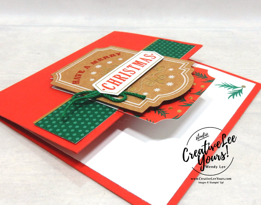Have a Merry Christmas by Wendy Lee, Tutorial, Joy of Giving tag kit, stampin Up, SU, #creativeleeyours, hand made, technique, joy of giving stamp set, gold foil, Christmas, friend, celebration, stamping, creatively yours, creative-lee yours, DIY, class, kit, #simplestamping, alternate, gift card holders, embossing, deer, holly, FREE gift, masculine,#patternpaper