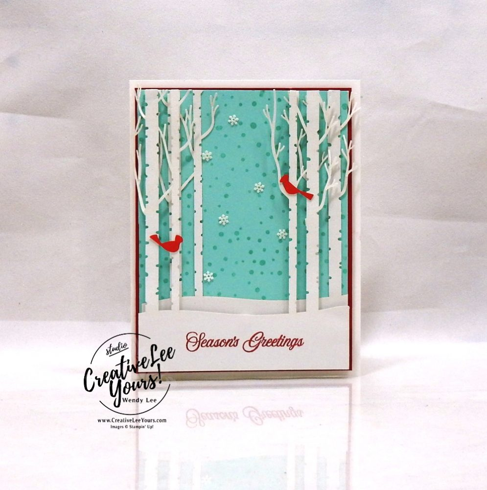 Winter Woods by Wendy Lee, October 2019 Paper Pumpkin Kit, stampin up, handmade cards, rubber stamps, stamping, kit, subscription, #creativeleeyours, creatively yours, creative-lee yours, celebration, smile, thank you, alternate, bonus tutorial, fast & easy, DIY, #simplestamping, card kit, tags, holiday, Christmas, cardinal, paper crafts