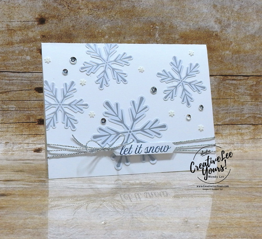 Let it snow by Wendy Lee, November 2019 Paper Pumpkin Kit, stampin up, handmade cards, rubber stamps, stamping, kit, subscription, #creativeleeyours, creatively yours, creative-lee yours, celebration, smile, thank you, alternate, bonus tutorial, fast & easy, DIY, #simplestamping, card kit, tags, holiday, Christmas, #simplestamping, cardinal, trees, winter wishes, snowflakes, gifts, alternate