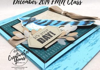 Blue Jay Triangular Tri-Fold by Wendy Lee, Tutorial, card club, stampin Up, SU, #creativeleeyours, hand made card, technique, Toile Christmas stamp set, Itty Bitty Birthdays stamp set, friend, celebration, stamping, creatively yours, creative-lee yours, DIY, FMN, forget me knot, December 2019, class, card club, bird, blue jay, masculine, fun fold, stitched shapes dies, stitched nested labels dies, technique, #papercrafts, birthday, card class