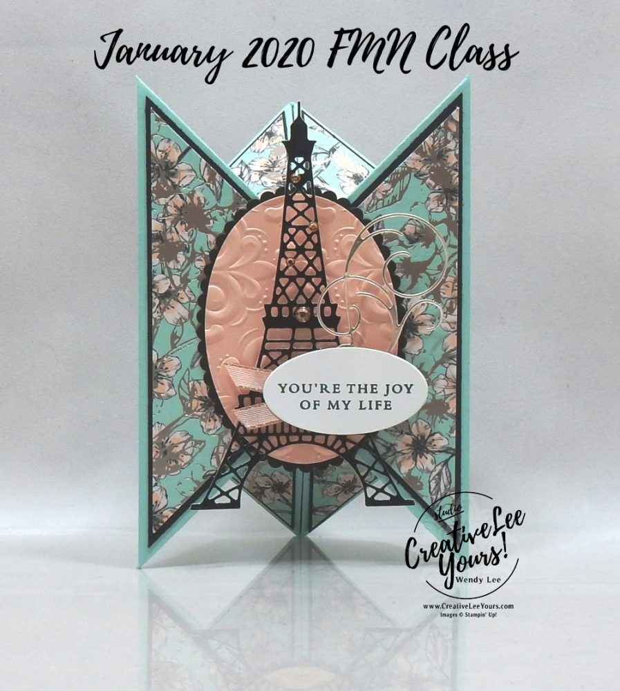 Tricorn Fun Fold by Wendy Lee, stampin Up, SU, #creativeleeyours, handmade card, fun fold, Parisian Beauty stamp set, #patternpaper, friend, celebration, stamping, creatively yours, creative-lee yours, DIY, birthday, valentine, fun fold, eifel tower, paris, love, joy, champagne, FMN, tutorial, card club, Forget Me Not, January 2020 class, technique, paper crafts