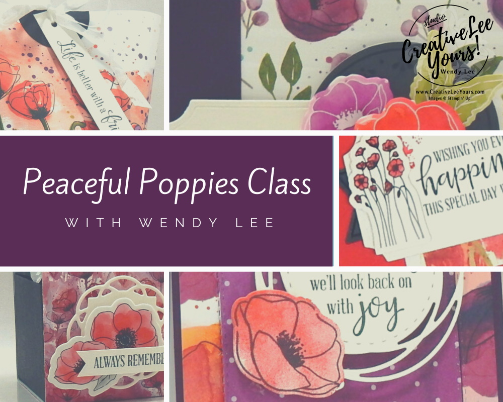 Peaceful Poppies Class by wendy lee, Stampin Up, #creativeleeyours, wendy lee, creatively yours, creative-lee yours, stamping, paper crafting, handmade, cards, class, friend, painted poppies stamp set, peaceful moment stamp set, 3D, treat holders