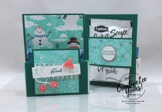 Get Well Kit by wendy lee, #creativeleeyours, creatively yours, creative-lee yours, DIY, SU, rubber stamps, class, fun fold, get well, winter, snowman season, Itty Bitty greetings stamp set, friend, splitcoast, guest author, video, soup, tissues, cough drops, halls, cup-a-soup