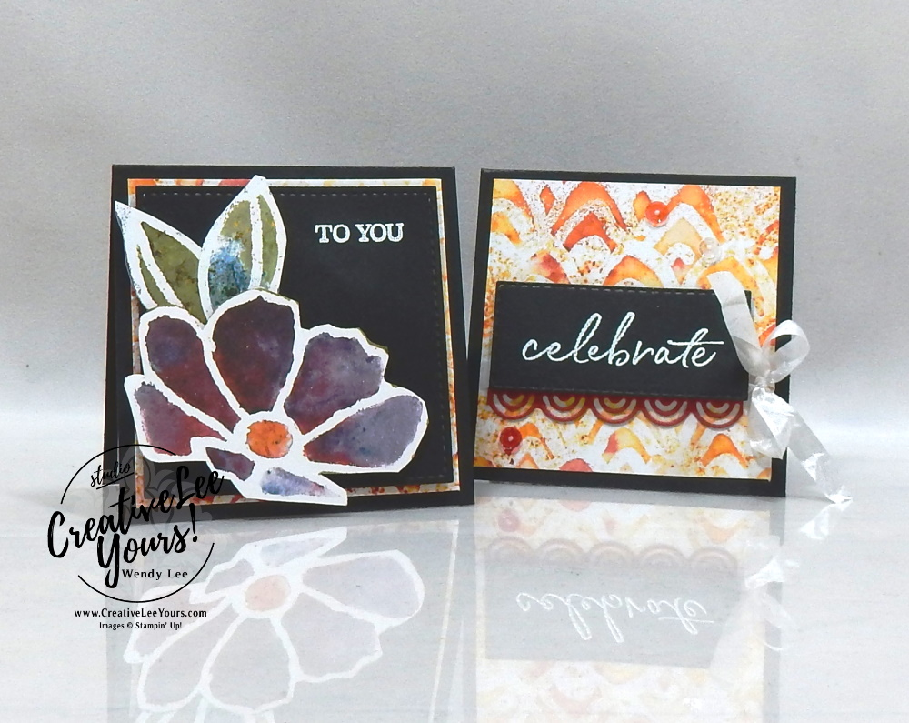 Birthday Notecards by wendy lee, Stamping Around the World Tutorial Bundle, January 2020,blog hop, class, cards, exclusive, #creativeleeyours, creativelee-yours, creatively yours, pattern paper, rubber stamps, Stampin Up, SU, hand made cards, technique, fun fold, DIY, paper crafts, celebrate, birthday, sea a silhouette