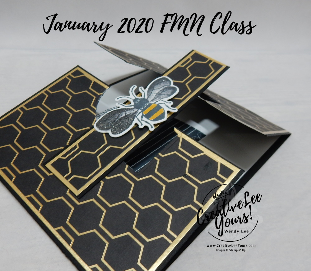 Gate Fold by Wendy Lee, stampin Up, SU, #creativeleeyours, handmade card, fun fold, Honey Bee stamp set, #patternpaper, friend, celebration, stamping, creatively yours, creative-lee yours, DIY, birthday, bee, honeycomb, masculine, FMN, Forget me not, card class, card club, tutorial, fun fold