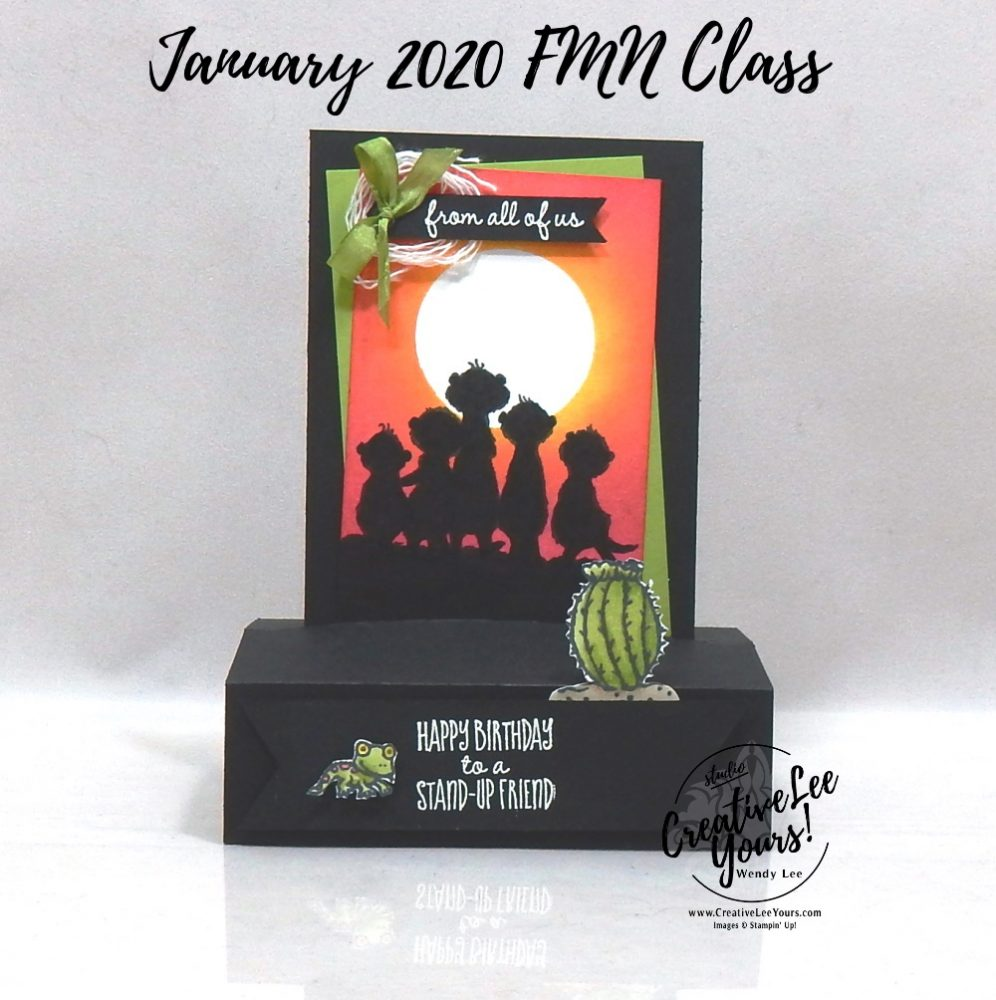 Standing pop-up by Wendy Lee, stampin Up, SU, #creativeleeyours, handmade card, fun fold, the gangs all meer stamp set, burnishing, friend, celebration, stamping, thank you, creatively yours, creative-lee yours, DIY, birthday, animals, meercat, cactus, lizard, card class, tutorial, FMN, forget me not, card class, tutorial, technique, paper crafts