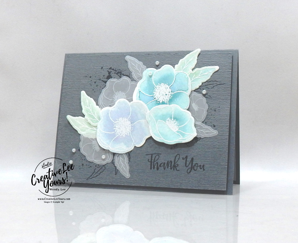 Watercolored poppies by Wendy Lee, stampin Up, SU, #creativeleeyours, handmade card, water color, painted poppies stamp set, peaceful moments stamp set, friend, celebration, stamping, thank you, creatively yours, creative-lee yours, DIY, birthday, f, FMN, Forget me not, flowers, card class, card club, tutorial