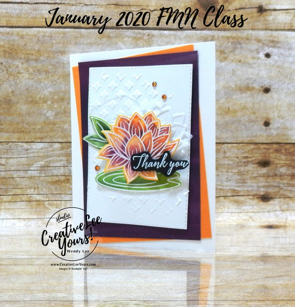 Water Colored Lily by Wendy Lee, stampin Up, SU, #creativeleeyours, handmade card, embossing paste, lovely lily pad stamp set, tropical chic stamp set, friend, celebration, stamping, thank you, creatively yours, creative-lee yours, DIY, birthday, emboss resist, flowers, lily pad, card class, tutorial, FMN, forget me not, SAB, tutorial, technique, paper crafts, Sale-a-bration