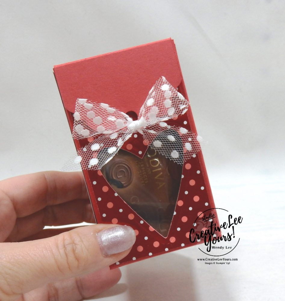 Valentine treat box by Wendy Lee, Stampers Showcase Blog Hop, Tutorial, stampin Up, SU, #creativeleeyours, handmade card, stitched be mine, hearts, friend, celebration, stamping, creatively yours, creative-lee yours, DIY, birthday, SAB, saleabration, card club, card class, 2-4-6-8 box,delightful tag topper punch