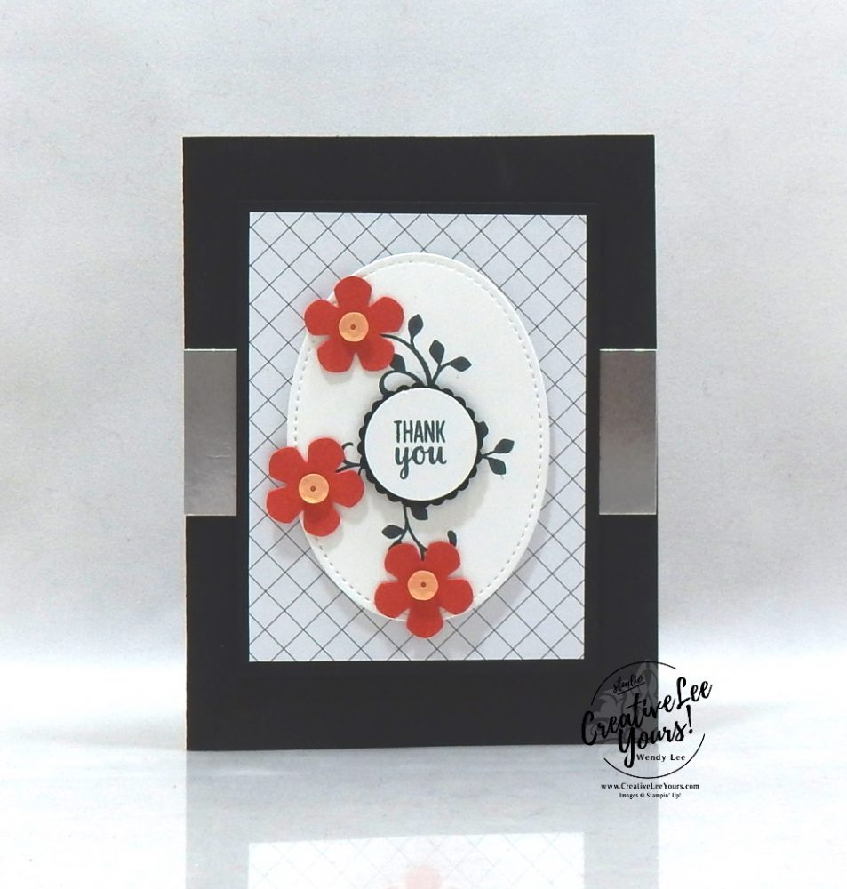 Thank you by Wendy Lee, stampin Up, SU, #creativeleeyours, handmade card, sending you thoughts stamp set, friend, celebration, stamping, thank you, creatively yours, creative-lee yours, DIY, birthday, emboss, flowers, diemonds team, business opportunity, SAB, paper crafts, Sale-a-bration, scallop punch, leaf punch, small bloom punch, golden honey designer series paper