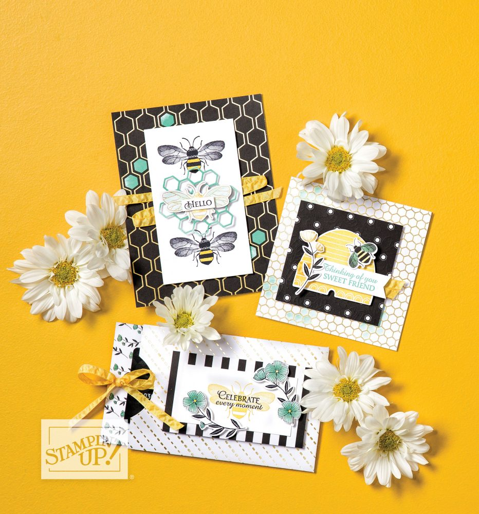 Wendy Lee, stampin Up, SU, #creativeleeyours, handmade card, Honey Bee stamp set, bees, heart, honeycomb, friend, celebration, stamping, creatively yours, creative-lee yours, DIY, paper crafts, #patternpaper, tags, note card, #SAB, #saleabration, golden honey, designer paper, DSP, honey bee project collection, video