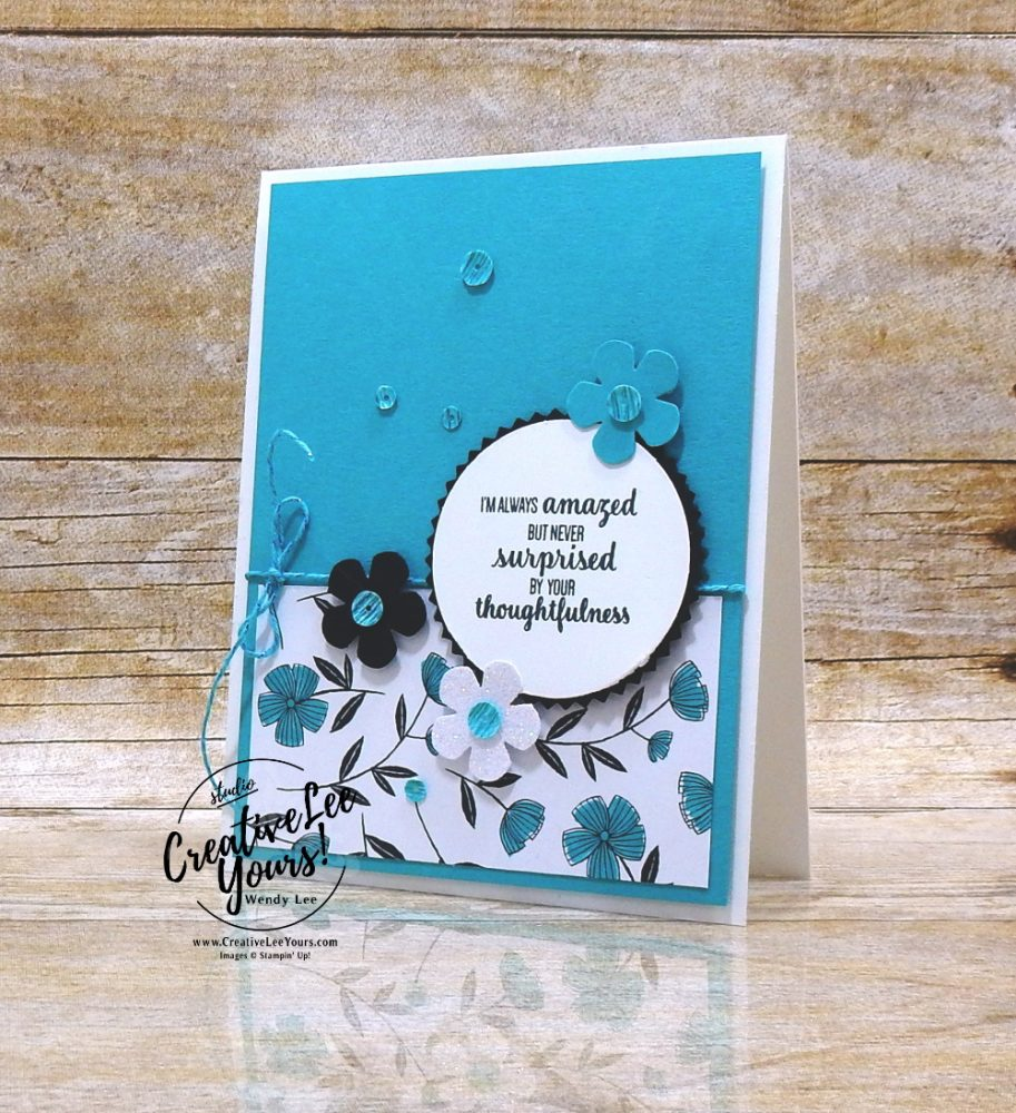 Thoughtful blooms by Wendy Lee, stampin Up, SU, #creativeleeyours, handmade card, sending you thoughts stamp set, friend, celebration, stamping, thank you, creatively yours, creative-lee yours, DIY, birthday, emboss, flowers, diemonds team, business opportunity, SAB, paper crafts, Sale-a-bration, starburst punch, small bloom punch, golden honey designer series paper, metallic twine