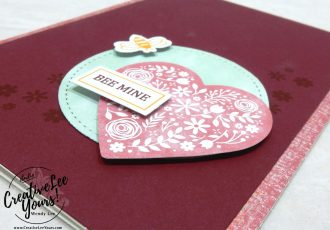 Wendy Lee, January 2020 Paper Pumpkin Kit, I'll Bee Yours, stampin up, handmade cards, rubber stamps, stamping, kit, subscription, #creativeleeyours, creatively yours, creative-lee yours, SU, wedding, love, valentine, bee mine, alternate, bonus tutorial, fast & easy, DIY, #simplestamping, card kit, hearts, paper crafts
