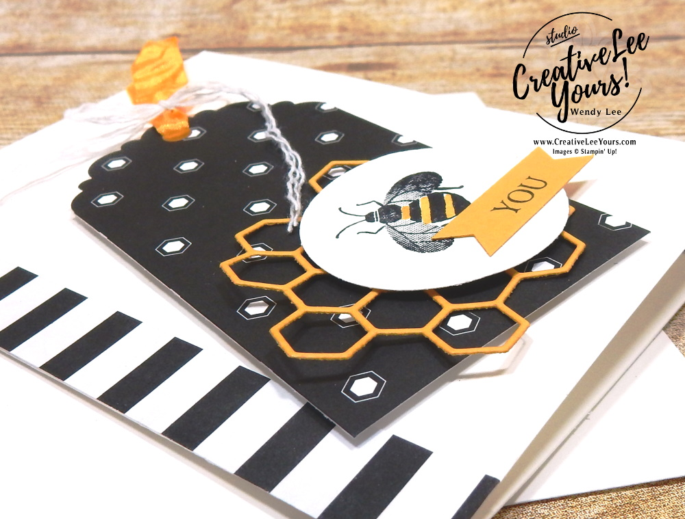 BEE you by Wendy Lee, stampin Up, SU, #creativeleeyours, handmade card, Honey Bee stamp set, bees, heart, honeycomb, friend, celebration, stamping, creatively yours, creative-lee yours, DIY, card class, tutorial, paper crafts, #patternpaper, tags, note card, #SAB, #saleabration