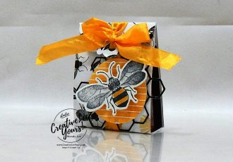 Honey Bee Treat Holder by Wendy Lee, stampin Up, SU, #creativeleeyours, handmade card, Honey Bee stamp set, Detailed Bee dies, friend, celebration, stamping, creatively yours, creative-lee yours, DIY, birthday, papercrafts, treat holder,3D, behive, honeycomb, golden honey