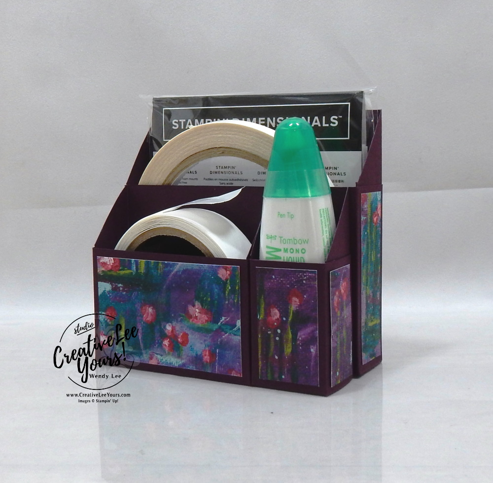 Desktop Adhesive Caddy by wendy lee, Stampin Up, #creativeleeyours, wendy lee, creatively yours, creative-lee yours, stamping, paper crafting, handmade, cards, class, friend, 3D, treat holders, pattern paper, crafts, thinking of you, birthday, sympathy, thank you, congratulations, remember, organization, diemonds team, business opportunity, gifts