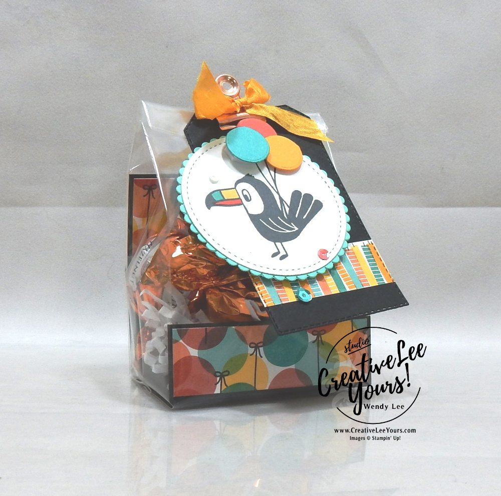 Bonanza Birthday Class by wendy lee, Stampin Up, #creativeleeyours, wendy lee, creatively yours, creative-lee yours, stamping, paper crafting, handmade, cards, class, friend, bonanza buddies stamp set, 3D, treat holders, gift card, cake topper, birthday, tutorial, class, DIY, papercrafts, toucan, koala, lion