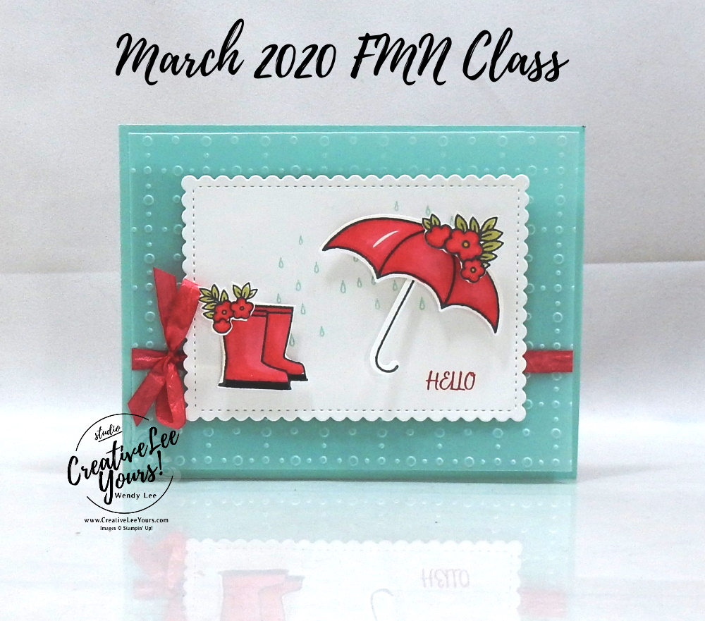 Rain or Shine Square Pop-up by Wendy Lee, stampin Up, SU, #creativeleeyours, handmade card, umbrella, rain boots, spring flowers, under my umbrella stamp set, friend, celebration, congratulations, thank you, hello, stamping, creatively yours, creative-lee yours, DIY, paper crafts, vellum, embossing, tutorial, FMN, forget me not, card club, class, fun fold