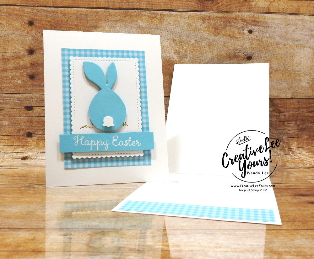Easter Bunny by Wendy Lee, stampin Up, SU, #creativeleeyours, handmade card, easter, buny, welcome easter stamp set, friend, celebration, congratulations, thank you, stamping, creatively yours, creative-lee yours, DIY, paper crafts, #patternpaper, embossing, tutorial