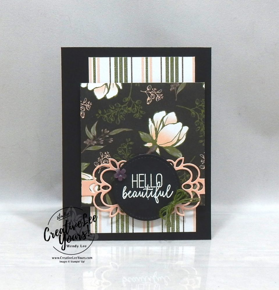 Hello Beautiful by wendy lee, Stamping Around the World Tutorial Bundle, March 2020, blog hop, class, cards, exclusive, #creativeleeyours, creativelee-yours, creatively yours, pattern paper, rubber stamps, Stampin Up, hand made cards, technique, DIY, paper crafts, butterfly gala stamp set, friend, birthday, magnolia lane, detailed bands, heat embossing, tutorial, tutorials