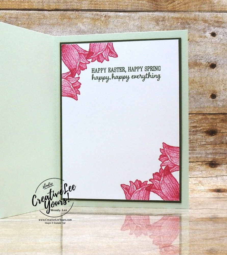 Hello Spring by wendy lee, Stampin Up, promotion, sale-a-bration, SAB, #creativeleeyours, creatively yours, free products, stamping, paper crafting, handmade, mini trimmer, paper sampler, patternpaper, SU, SUO, creative-lee yours, Diemonds team, business opportunity, DIY, fellowship, paper crafts, saleabration celebration, team swap, timeless tulips, spring, flowers,video, kaleidoscope, technique, stamping in the round