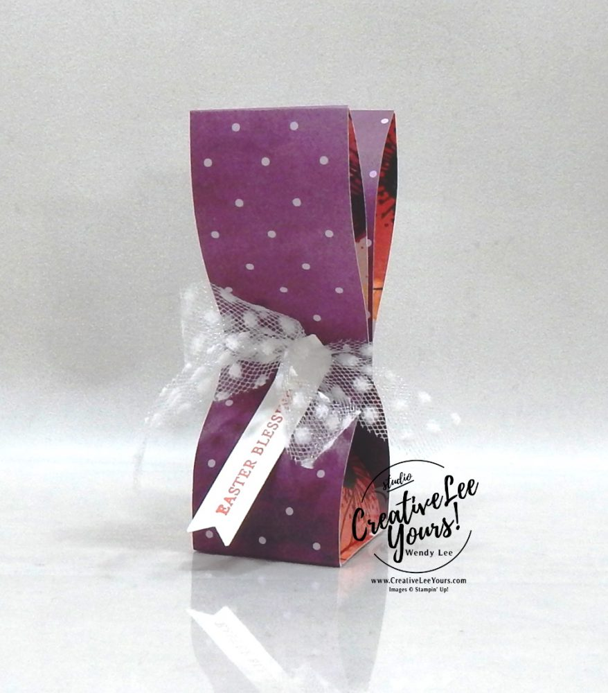 Easter Blessings treat holder by Wendy Lee, Maui achievers hop, blog hop, peaceful poppies, DSP, pattern paper, Easter, 3D, candy treat holder, bunny, stampin Up, SU, #creativeleeyours, handmade, friend, celebration, congratulation, thank you, stamping, creatively yours, creative-lee yours, DIY, paper crafts, tutorial, itty bitty greetings, incentive trip, rewards, business opportunity