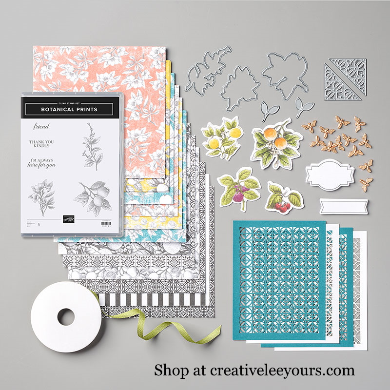 Botanical Prints Product Medley, Wendy Lee, stampin up, handmade cards, rubber stamps, stamping, #creativeleeyours, creatively yours, creative-lee yours, friend, celebration, smile, thank you, birthday, congrats, amazing, love, video, DIY, 3D, bee, tiles, fruit, #su , #stampinupdemonstrator, #papercrafts , #papercraft , #papercrafting , #makeacardsendacard ,#makeacardchangealife , Botanical Prints Stamp Set, Botanical Prints Dies
