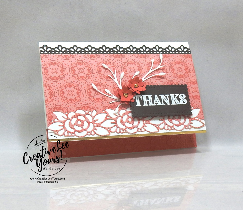 Ornate Garden fun fold class with wendy lee, stampin up, stamping, SU, #creativeleeyours, creatively yours, creative-lee yours, sneak peek, new catalog, new stamping products, promotion, Tutorial, handmade card, friend, celebration, thank you, thinking of you, stamping, DIY, birthday, embossing, papercrafts, fun fold, #makeacardsendacard ,#makeacardchangealife, ornate thanks, ornate style, ornate floral, pattern paper, #stampinupdemonstrator , #cardclass, ,#cardclasses ,#onlinecardclasses ,#funfoldcards ,#funfoldcard ,#tutorial ,#tutorials, #DIY, #papercrafts , #papercraft , #papercrafting, #craftkit, #craftkits,