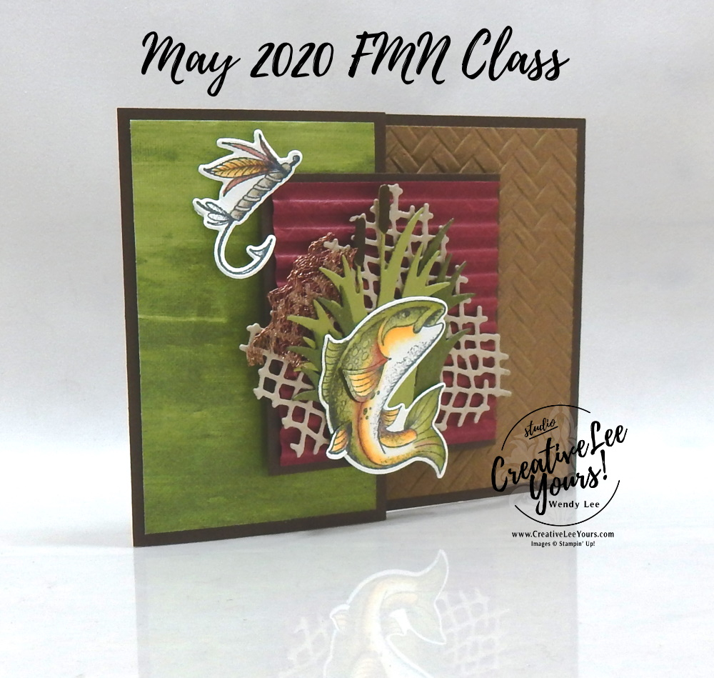 Best Catch Fun Fold by wendy lee, stampin up, stamping, SU, #creativeleeyours, creatively yours, creative-lee yours, handmade card, friend, celebration, congratulations, thank you, dad, hello, stamping, DIY, paper crafts, embossing, tutorial, FMN, forget me not, card club, class, best catch stamp set, #makeacardsendacard ,#makeacardchangealife, fun fold, masculine, fish, coastal weave