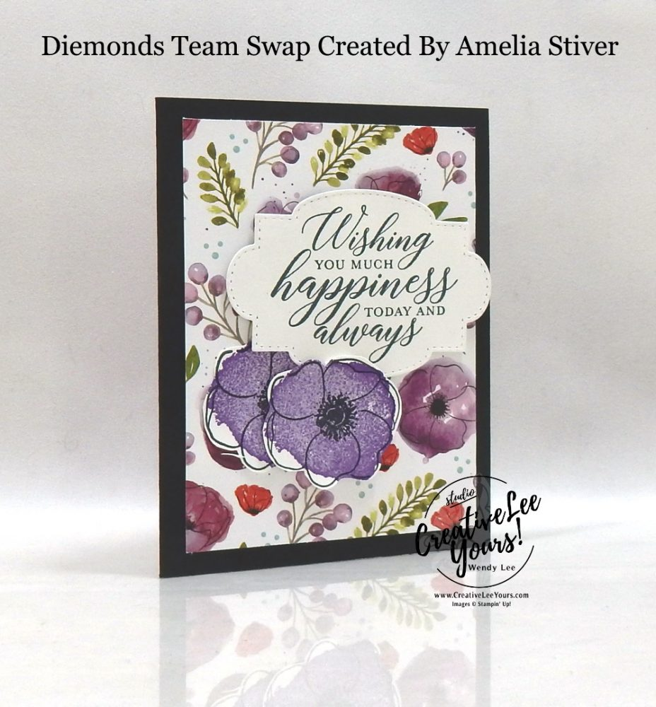 Wishing Happiness by Amelia Stiver, Wendy Lee, stampin Up, SU, #creativeleeyours, handmade card, painted poppies stamp set, peaceful moments stamp set, friend, celebration, wedding,stamping, creatively yours, creative-lee yours, DIY, birthday, papercrafts, business opportunity, #makeacardsendacard ,#makeacardchangealife , #diemondsteam ,#diemondsteamswap ,#businessopportunity, flowers, stitched so sweetly