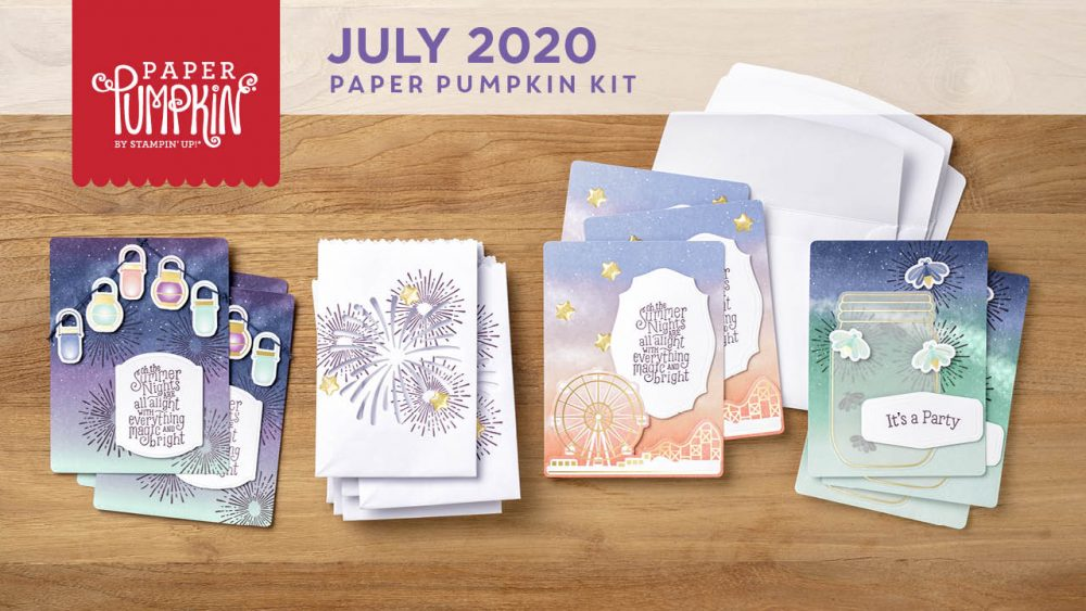 Wendy Lee, July 2020 Paper Pumpkin Kit, stampin up, handmade cards, rubber stamps, stamping, kit, subscription, #creativeleeyours, creatively yours, creative-lee yours, celebration, smile, thank you, birthday, sorry, thinking of you, love, congrats, lucky, feel better, sympathy, get well, summer nights, fireflies, fireworks, tealight, treat bags, bonus tutorial, fast & easy, DIY, #simplestamping, card kit, subscription, craft kit