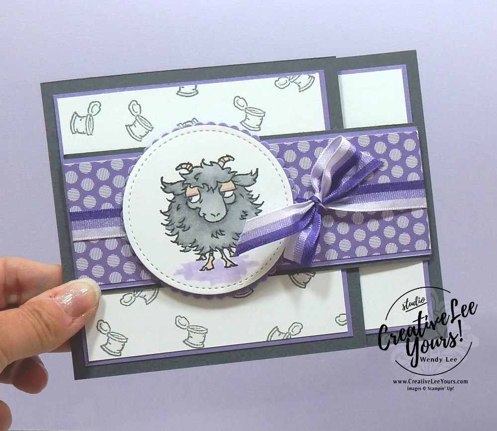 Happy Birthday You Old Goat by wendy lee, stampin up, stamping, SU, #creativeleeyours, creatively yours, creative-lee yours, #cardmaking #handmadecard #rubberstamps #stamping, friend, celebration, congratulations, thank you, hello, birthday, stamping, DIY, paper crafts, #papercrafting , #papercraftingsupplies, #papercraftingisfun , fun fold, card club, way to goat stamp set, #makeacardsendacard ,#makeacardchangealife, ,#tutorial ,#tutorials, farm animals. Goats, maui achievers blog hop