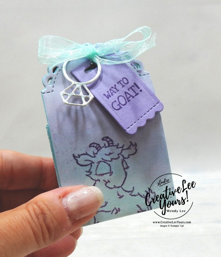 Way To Goat Treat Box by wendy lee, stampin up, stamping, SU, #creativeleeyours, creatively yours, creative-lee yours, #cardmaking #handmadecard #rubberstamps #stamping, friend, celebration, congratulations, thank you, hello, birthday, diemonds team, team gifts, team incentives, stamping, DIY, paper crafts, #papercrafting , #papercraftingsupplies, #papercraftingisfun , Facebook live, way to goat stamp set, #makeacardsendacard ,#makeacardchangealife, ,#tutorial ,#tutorials, farm animals. Goats, video, treat box, snowflake splendor, little treat box dies