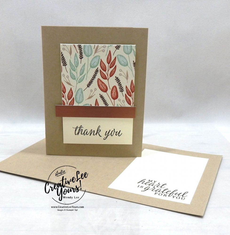 Brushed Thank You by wendy lee, stampin up, stamping, SU, #creativeleeyours, creatively yours, creative-lee yours, #cardmaking #handmadecard #rubberstamps #stamping, friend, celebration, congratulations, thank you, hello, grateful, thinking of you, birthday, fall, autumn, stamping, DIY, paper crafts, #papercrafting , #papercraftingsupplies, #papercraftingisfun , Beautiful Autumn stamp set, #makeacardsendacard ,#makeacardchangealife