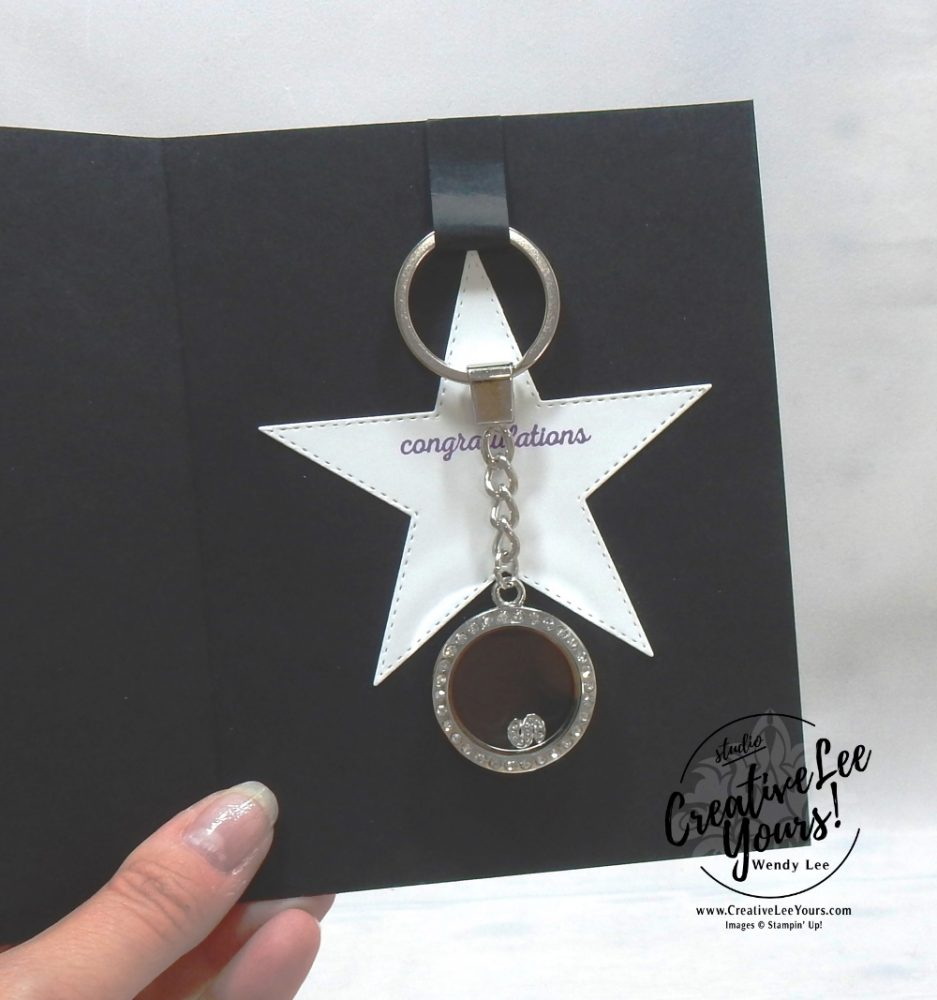 Time to shine by wendy lee, Diemonds team gifts, team advancement, team promotion, stampin up, stamping, handmade, SU, #creativeleeyours, creatively yours, creative-lee yours, SU cards, business opportunity, #makemoneyathome, stitched stars, tutorial, congrats, itty bitty greeting stamp set, daisy lane stamp set, masculine, locket keychain