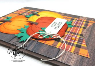 Plaid Give Thanks by wendy lee, stampin up, stamping, SU, #creativeleeyours, creatively yours, creative-lee yours, #cardmaking #handmadecard #rubberstamps #stamping, friend, celebration, give thanks, congratulations, thank you, hello, birthday, fall, autumn, sponging technique, stamping, DIY, paper crafts, #papercrafting , #papercraftingsupplies, #papercraftingisfun , Facebook live, harvest hellos stamp set, #makeacardsendacard ,#makeacardchangealife, ,#tutorial ,#tutorials, masculine card, fall leaves, pumpkin