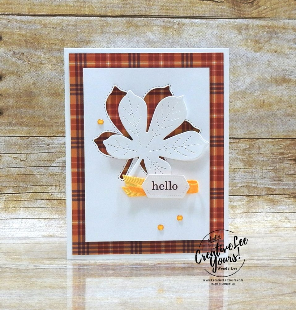 Stitched Leaves cutout by wendy lee, stampin up, stamping, SU, #creativeleeyours, creatively yours, creative-lee yours, #cardmaking #handmadecard #rubberstamps #stamping, friend, celebration, congratulations, thank you, hello, birthday, fall, plaid, masculine, Best Year stamp set, stamping, DIY, paper crafts, #papercrafting , #papercraftingsupplies, #papercraftingisfun , catalog share, #makeacardsendacard ,#makeacardchangealife, ,#tutorial ,#tutorials
